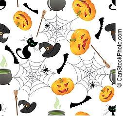 halloween seamless - Seamless bright pattern with cartoon...