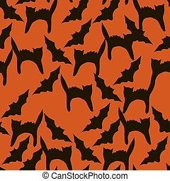 Halloween seamless vector pattern for your design with black silhouette of pumpkins, cats, spiders and witches on a orange background
