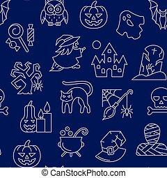 Halloween seamless white line pattern
