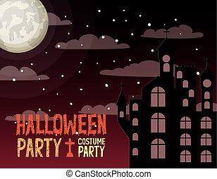 halloween season card with castle in dark night scene