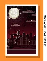 halloween season card with cemetery in dark night scene