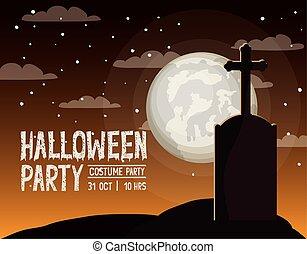 halloween season card with cemetery scene