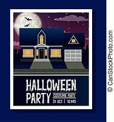 halloween season card with house in dark night scene