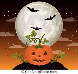 halloween season card with pumpkin in dark night scene