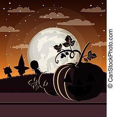 halloween season card with pumpkins in dark night scene