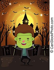 halloween season scene with boy costume frankenstein