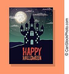 halloween season scene with castle night