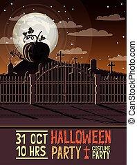 halloween season scene with graveyard