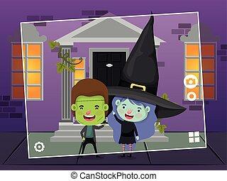 halloween season scene with kids costume frankenstein and witch