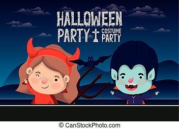 halloween season scene with kids costume in dark night