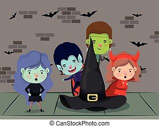 halloween season scene with kids costume