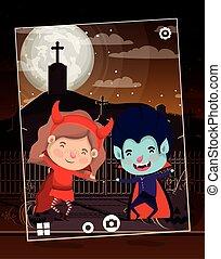 halloween season scene with kids on graveyard