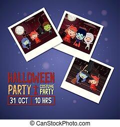 halloween season scene with set photos of kids costume