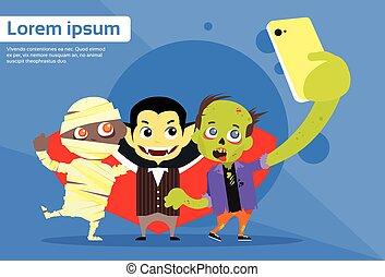 Halloween Selfie Photo Smart Phone Cartoon Vampire Zombie...