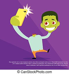 Halloween Selfie Photo Zombie Headless Hold Head in Hand Smart Phone Scary Cartoon Character Smile