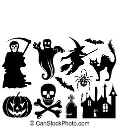 Big Halloween collection with bat, pumpkin, witch, ghost, element for design, vector illustration