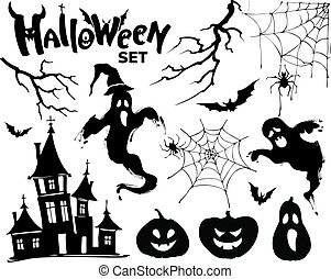 Halloween set black elements for your design. Vector illustration