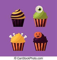 halloween, set, cupcakes, bundel, iconen
