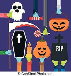 Halloween set design flat