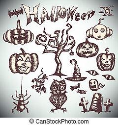 halloween set draw hand