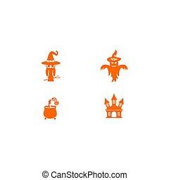 Halloween set graphic vector template