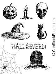 Halloween set - Hand- drawn Halloween related items