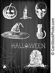 Halloween set. Hand- drawn Halloween related objects and...