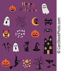 Halloween set, icons