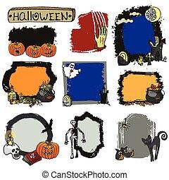halloween, set., lebel, isolato, doodles, sinistro, tesserati magnetici