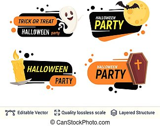 Halloween set of badges with editable copy space.