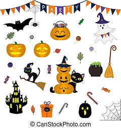 Halloween set of cute elements, objects and icons for your design in a cartoon style, isolated on a white background. Vector, flat