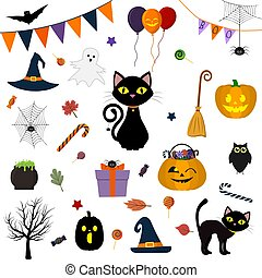 Halloween set of cute vector elements, objects and icons for your design in a cartoon style, isolated on a white background. Vector, flat