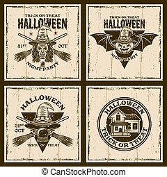 Halloween set of four vector brown vintage emblems