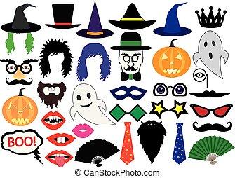 Halloween, set of icons, vector