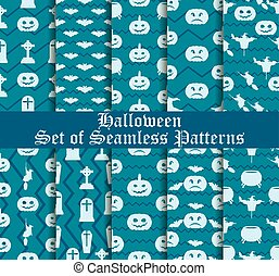 Halloween set of seamless patterns with pumpkins, witches and celebratory symbols. Vector illustration