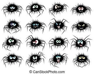 Halloween set of sixteen spider characters
