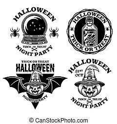 Halloween set of vector emblems, labels, badges