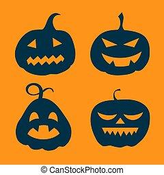 Halloween set pumpkin on orange