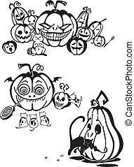 halloween, set., vettore, -, felice