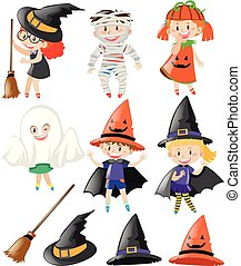 Halloween set with kids in costumes