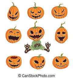 Halloween set with pumpkins. Vector illustration, isolated on white background.