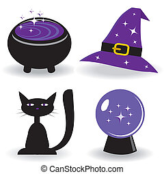 Halloween set with witch's stuff. Vector illustration.
