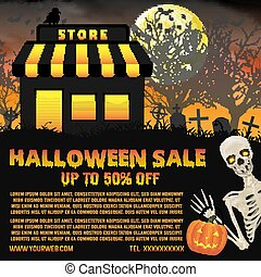 halloween shop sale with graveyard background poster