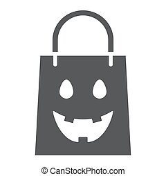 Halloween shopping bag glyph icon, package and shop, packet sign, vector graphics, a solid pattern on a white background, eps 10.