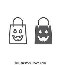 Halloween shopping bag line and glyph icon, package and shop, packet sign, vector graphics, a linear pattern on a white background, eps 10.