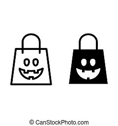 Halloween shopping bag line and glyph icon. Package vector illustration isolated on white. Festive outline style design, designed for web and app. Eps 10.