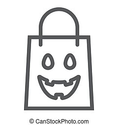 Halloween shopping bag line icon, package and shop, packet sign, vector graphics, a linear pattern on a white background, eps 10.