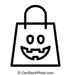 Halloween shopping bag line icon. Package vector illustration isolated on white. Festive outline style design, designed for web and app. Eps 10.