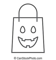 Halloween shopping bag thin line icon, package and shop, packet sign, vector graphics, a linear pattern on a white background, eps 10.