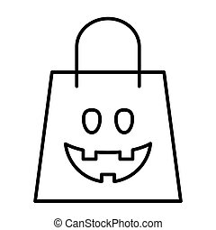 Halloween shopping bag thin line icon. Package vector illustration isolated on white. Festive outline style design, designed for web and app. Eps 10.